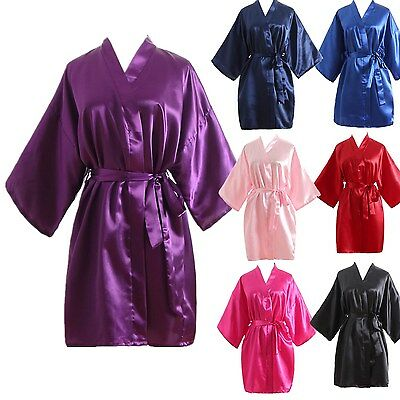 Women robe Silk Satin Robes Wedding Bridesmaid Bride Gown kimono plain robe