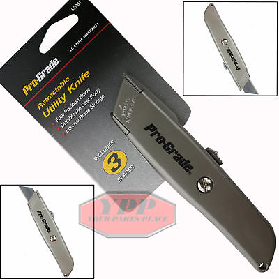 Retractable Utility Knife Box Cutter Metal Body Standard Razor Size Extra Blades