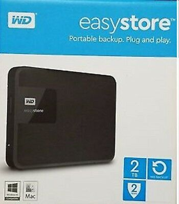 NIB WD Easystore 2TB External USB 3.0 Portable Hard Drive - Black