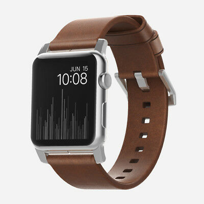 Nomad Horween Leather Strap Modern for Apple Watch 1,2,3 - 42mm - BROWN - Silver