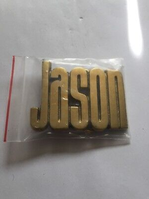 * Jason * HEAVY CUT OUT SOLID BRASS NAME BELT BUCKLE VINTAGE 1970's 3D DECO NOS