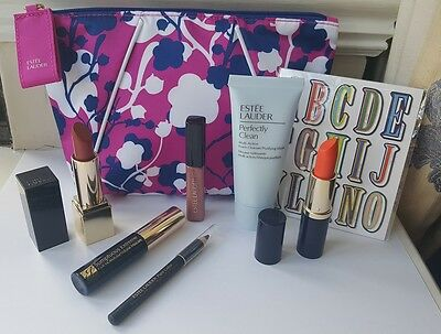 Bundle of 6 Estee Lauder GWP Products - Lipsticks, Gloss, Mascara, Cleanser New