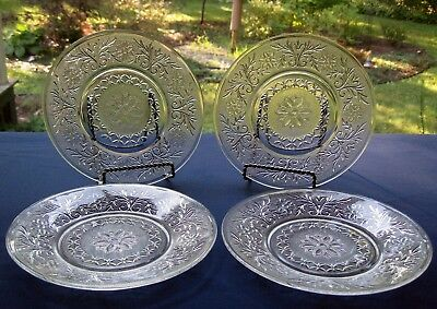 "Anchor Hocking Glass 4 Clear Sandwich 8"" Salad Luncheon Plates"