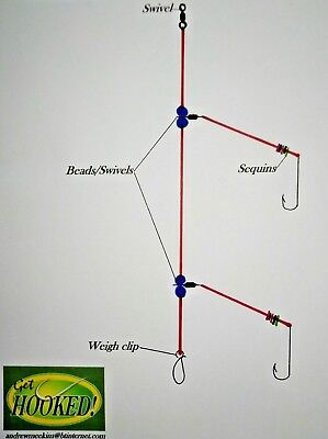 4 X Two hook flapper sea fishing rig, made in sizes 2/0 hook's.