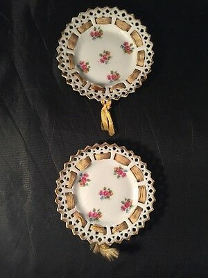 Antique Vintage Lattice Ribbon Small Plates White With Roses