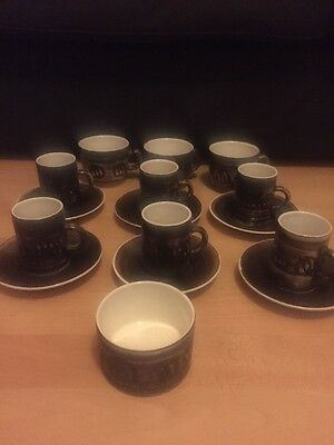 Cinque Ports Pottery Ltd The Monastery Rye Cups Saucers Sugar Bowl 1970s