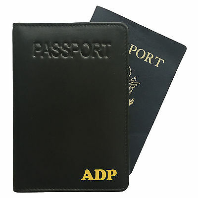 Personalized Monogrammed Leather RFID Passport Holder Cover