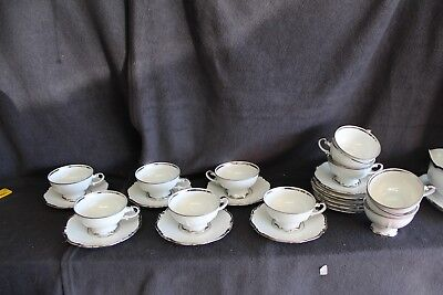 Mitterteich Bavaria Germany Platinum Princess Coffee/Tea Cups & Saucers (12)