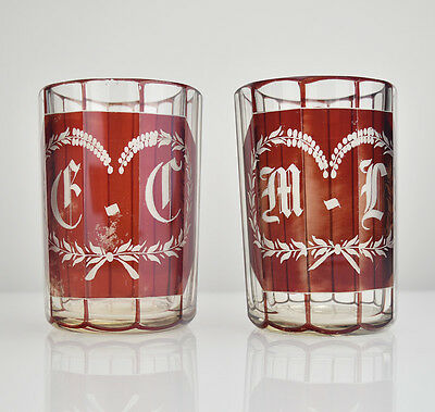 Antique Ruby Flashed Cut to Clear Glass Wedding Beakers Engraved Bohemian