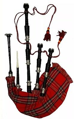 Scottish Highland Bagpipes full silver mounts Black finish with Carry Bag+Tutor