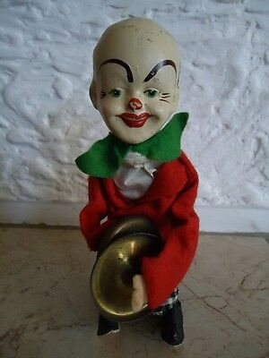 Vintage Paper Mache Toy-Clown-Clockwork-Wind-Up-Fully Functional-German Toy-