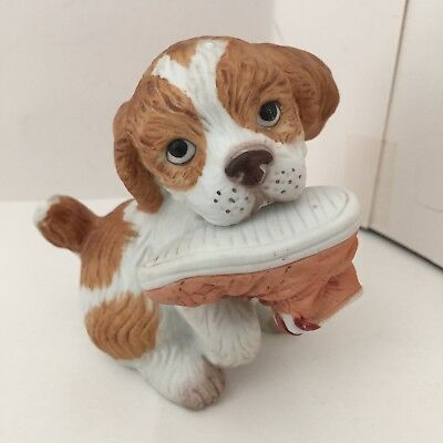 Homco Porcelain Bisque Cocker Spaniel Puppy Dog w/ Shoe Figurine #1405 Adorable