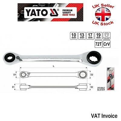 Yato Professional Double Ratchet Wrench Spanner 4 in 1  10x13x17x19 mm YT-4945