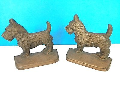 Vintage Pair Brass Bookends-Scotties-Terriers-Dogs--Heavy!