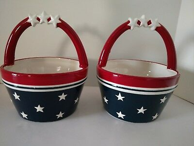 2  Ceramic Star Stripe Red White Blue Bowls with Handle Patriotic July 4th