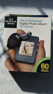 The Sharper Image USB 2.0 Rechargeable Digital Photo Album With Keychain NIB