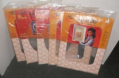 "5 Vtg Press-On Self-Stick Fabric Mat Board 11""x14"" Photo Picture Frame Size MIP"