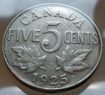 1925 Canada 5 Cents Nickel Coin - RARE KEY DATE Vintage Antique Canadian Coin