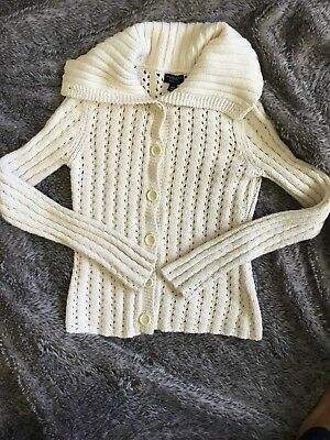 American Eagle Womens Sweater Cream Cowl Neck Chunky Cable Knit