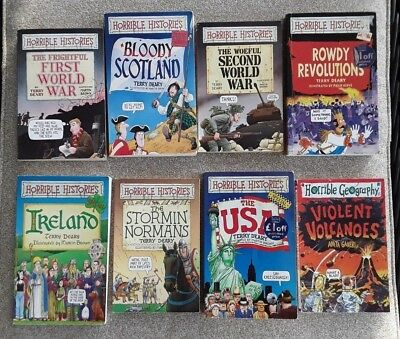 Lot of 7, Horrible Histories plus 1 Horrible Geography, Terry  Deary, Ills Brown