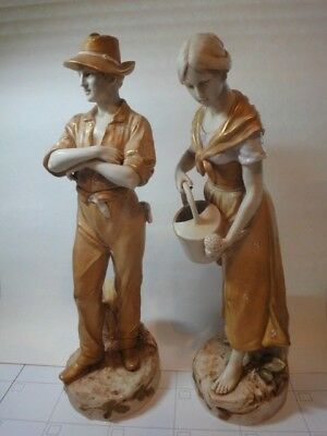 """LARGE Vintage Pair of ROYAL DUX BOHEMIA Figurines, Farmers 17"""" early 1900's"""
