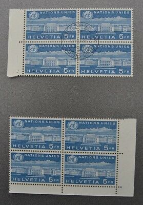 SWISS OFFICES UNO 1960 5 Fr. two blocks of 4 MNH and first day canceled 8 stamps