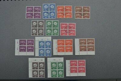 SWISS OFFICES UNO 1969  14 blocks of 4 MNH and first day canceled 112 stamps