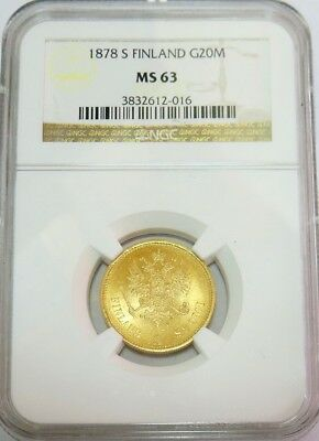 1878 S Gold Finland / Imperial Russia 20 Markkaa Coin Ngc Mint State 63