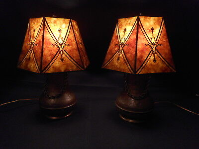 Arts And Crafts - Mission Hammered Brass Lamps Pair