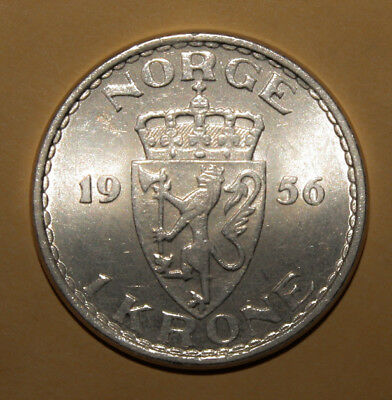 Norway 1 Krone 1956 Almost Uncirculated Coin