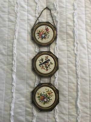 Vintage Ornate Small Brass Toned Frames art Floral Picture Set of 3 Made Italy