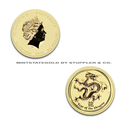 2012 $200 Australia Year of the Dragon BU condition 2 oz .9999 24 KT Gold coin