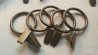 Antique Brass Drapery Curtain Rings with Clips 5pcs 1 1/2 diameter metal shower