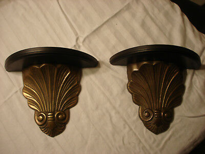 Pair of Vintage Cast Brass And Wood Wall Display Shelf Plate Rack