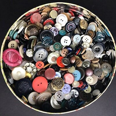 Buttons Mixed Lot In Retro Tin 1.13 lbs Colorful Vintage Antique Estate