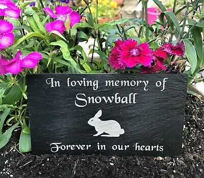 Pet Memorial Personalised Engraved Slate Headstone Grave Marker Plaque Rabbit
