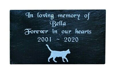 Pet Memorial Personalised Engraved Slate Stone Headstone Grave Marker Plaque CAT