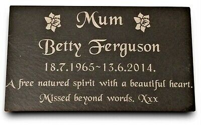"""Personalised Engraved Slate Stone Headstone Grave Marker Plaque 7 x 4"""""""