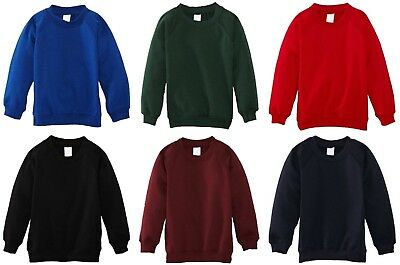 Kids Children Boys Girls Plain School Uniform Fleece Sweat Jumper Pullover