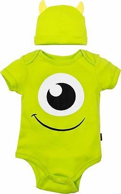Disney Pixar Monsters Inc. Mike Wazowski Baby Costume Bodysuit and Hat Green