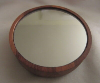 Stunning Elegant Vintage MID CENTURY MODERN Small Round Walnut Table Top Mirror