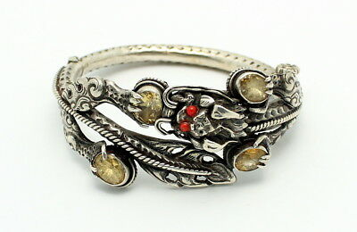 Fine Antique Chinese Silver Dragon Citrine & Faux Coral Hinged Bracelet