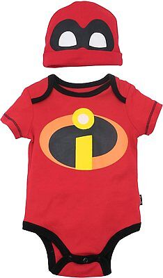 Disney Pixar The Incredibles Baby Costume Bodysuit and Hat Red