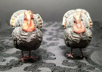 "2 Antique 1920s German Composition Putz Turkey Metal Feet 1.5"" Miniature Figures"