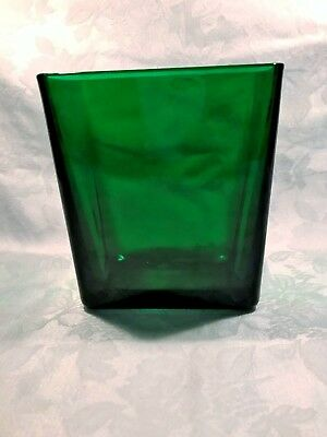 Forest Green Glass Square Vase Napco 1166 Cleveland Great