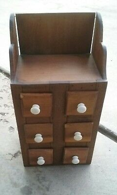 Primitive Wooden Herbs Spices Box  Six Drawers White Knobs Vintage