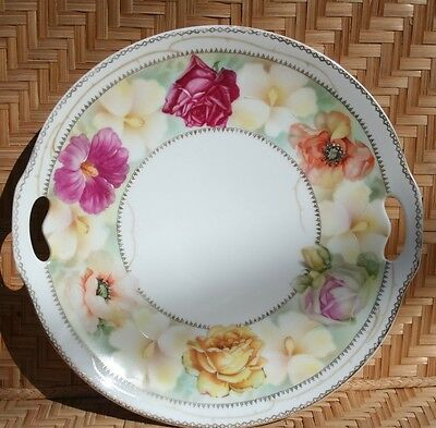 Prov. Saxe. E.S. Vintage Cake Plate hand painted numbered 336/5822 made in Germa