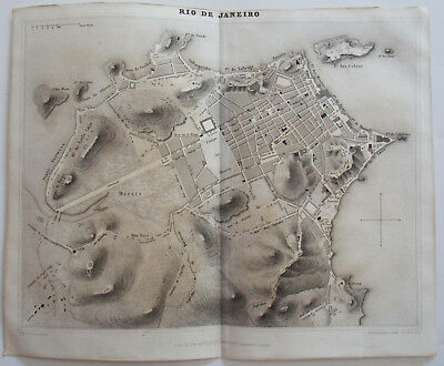 1838 ORIGINAL MAP OF THE CITY OF RIO DE JANEIRO, BRAZIL by DUFOUR & GAVARD