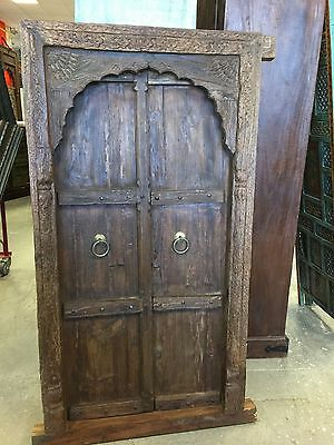 Indian Antique Vintage Teak Window Terrace Door Arched Mehrab Carved Jharokha