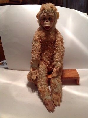 Vtg Rare  Stuffed Monkey Rubber Face Hands And Feet Movable Tail Used Red Mouth